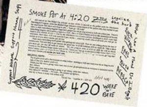 original 420 flyer freedom leaf cannabis news marijuana activism 4/20 four twenty history