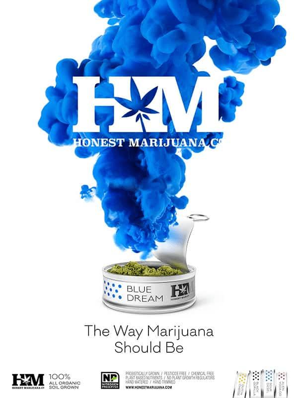 A can of HMJ blue dream marijuana